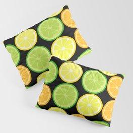 Citrus Slices on Black Pillow Sham