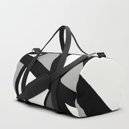Geometric Line Abstract - Black Gray White Duffle Bag