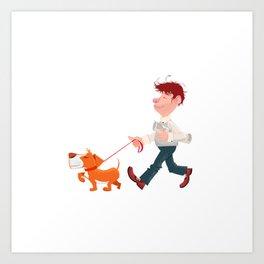 A man walking with his dog Art Print
