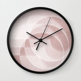 Spacial Orbiting Spiral in Shell Pink Wall Clock