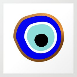 Grecian Gold evil eye in blue on white Art Print