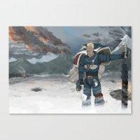 warhammer Canvas Prints featuring Warhammer 40,000 Space Wolf Marine by Derek Boman