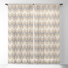 Ligonier Tan SW 7717, Slate Violet Gray SW9155, and Creamy Off White SW7012 Chevron Horizontal Lines Sheer Curtain