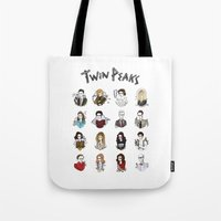 twin peaks Tote Bags featuring twin peaks by Bunny Miele