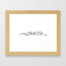 Denver Skyline Drawing Framed Art Print