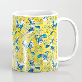 Flying Birds and Oak Leaves on Yellow Coffee Mug