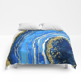 Cobalt blue and gold geode in watercolor (2) Comforters