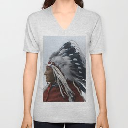 Lazy Boy - Blackfoot Indian Chief Unisex V-Neck
