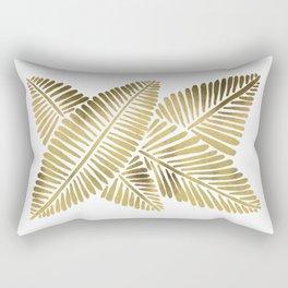 Tropical Banana Leaves – Gold Palette Rectangular Pillow