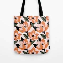 Bold orange poppy on a soft pink base Tote Bag