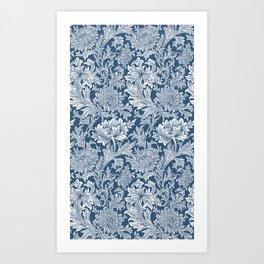 William Morris Navy Blue Chrysanthemum Floral Pattern Art Print