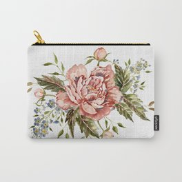 Pink Wild Rose Bouquet Carry-All Pouch