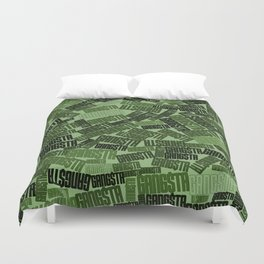 GANGSTA jungle camo / Green camouflage pattern with GANGSTA slogan Duvet Cover