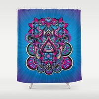 hamsa Shower Curtains featuring HAMSA by Fly Design Studio