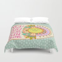 you are my sunshine Duvet Covers featuring You Are My Sunshine by Gigglebox