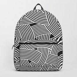 Modern Scandinavian B&W Black and White Curve Graphic Memphis Milan Inspired Backpack