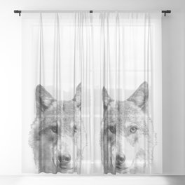 Black and White Wolf Sheer Curtain