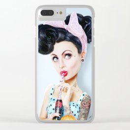 Pinup cool woman Clear iPhone Case
