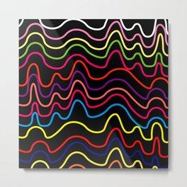 Colorful Horizontal Squiggle Lines on Black Metal Print