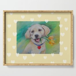 Yellow Valentine Cute puppy dog with hearts and flowers Serving Tray