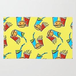 Fun Fast Food (seamless pattern in yellow) Rug