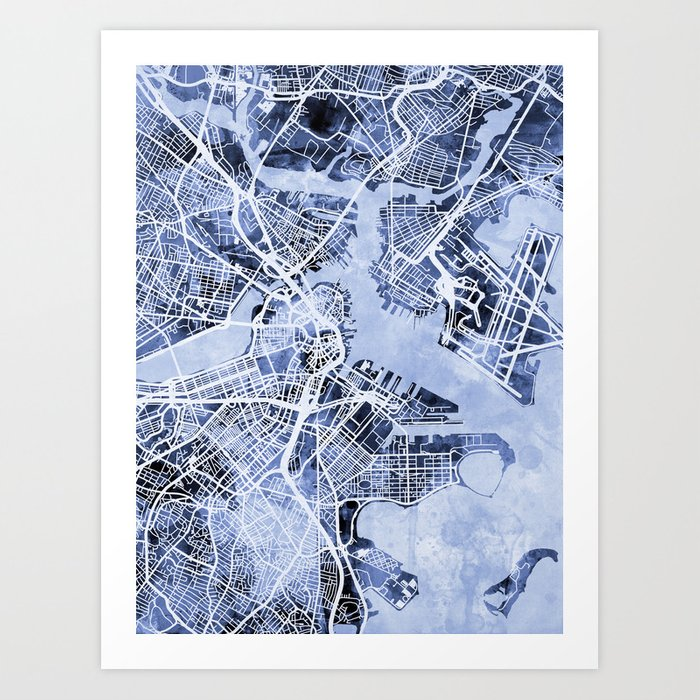 Boston Massachusetts Street Map Kunstdrucke