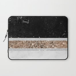 Black and White Marble Gold Glitter Stripe Glam #1 #minimal #decor #art #society6 Laptop Sleeve