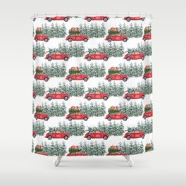 Corgis in car in winter forest Shower Curtain