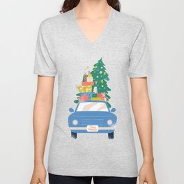 Car with Christmas gifts Unisex V-Neck