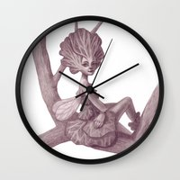 fairy Wall Clocks featuring Fairy by Sara Meseguer