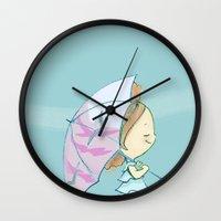 umbrella Wall Clocks featuring Umbrella by Susana Miranda ilustración