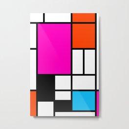 Mondrian Pink Metal Print