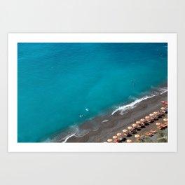 Positano Beach Umbrellas Art Print