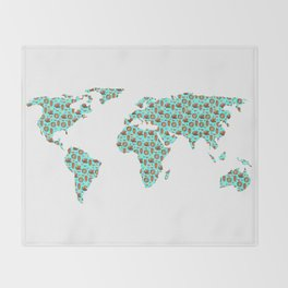 World Map Chocolate Planet Throw Blanket