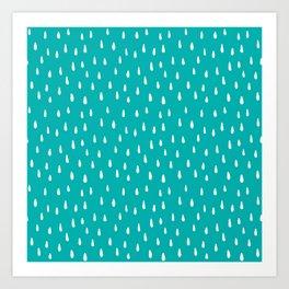 Turquoise Raindrops II Art Print