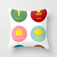 wes anderson Throw Pillows featuring Wes Anderson by Chay Lazaro