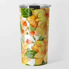 Yellow Hibiscus Tropical Continuous Floral Pattern Travel Mug