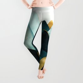 Gold and Blue Hills Leggings