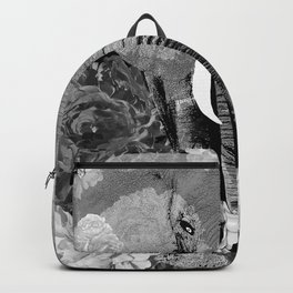 ELEPHANT AND CABBAGE ROSES IN BLACK AND WHITE Backpack