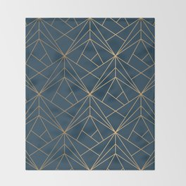 Benjamin Moore Hidden Sapphire Gold Geometric Pattern With White Shimmer Throw Blanket
