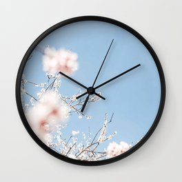 Beautiful Pastel Pink Blue & White Cherry Blossom Photography Blurred Wall Clock