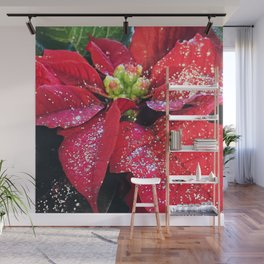 Christmas Holiday Red Poinsettias With Silver Hanukkah Sparkles Wall Mural
