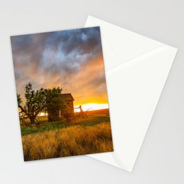 Windswept - Tree Sway in Wind Alongside Old Barn During Fiery Sunset in Oklahoma Stationery Cards