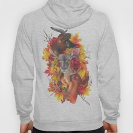 Deer and Fall Leaves Collage Hoody