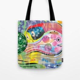 Hippy Fish in Rainbow Glow Tote Bag