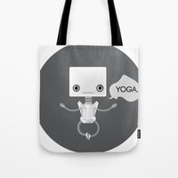 yoga Tote Bags featuring Yoga by Duan Riley