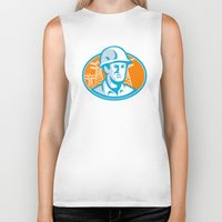 engineer Biker Tanks featuring Construction Worker Engineer Pylons Retro by retrovectors