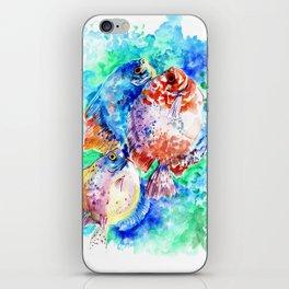 Underwater Scene Artwork, Discus Fish, Turquoise blue pink aquatic design iPhone Skin
