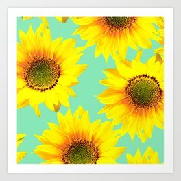 Sunflowers on a pastel green backgrond  Art Print