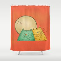cats Shower Curtains featuring Cats by Catru